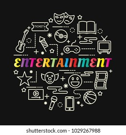 entertainment colorful gradient with line icons set, vector editable stroke