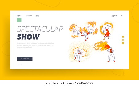 Entertainment with Flame, Performance Landing Page Template. Characters Dancing and Juggling with Fire on Stage Performing Talent Show Program for Judges and Viewers. Linear People Vector Illustration