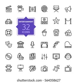 Entertainment icon set - outline icon collection, vector - Shutterstock ID 564358627