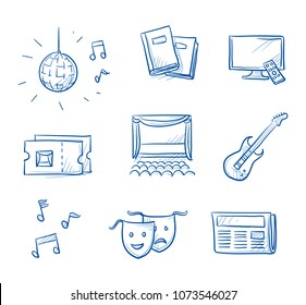 Entertainment icon set, with, theatre, television, books, disco, music, concert ticktets an cinema. Hand drawn doodle vector illustration.