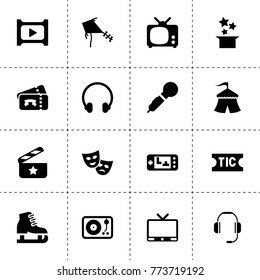 Entertainment icons. vector collection filled entertainment icons. includes symbols such as tv, headphone, theatre mask, circus, ticket. use for web, mobile and ui design.