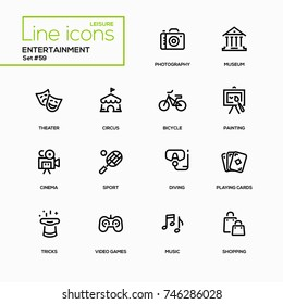 Entertainment - line design icons set. Theater, photography, museum, circus, bicycle, painting, cinema, sport, diving, playing cards, tricks, video games, music, shopping