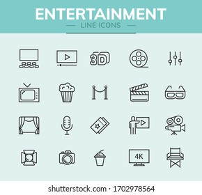 Entertainment line icon set for infographic or website