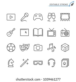 Entertainment line icons. Editable stroke. Pixel perfect.