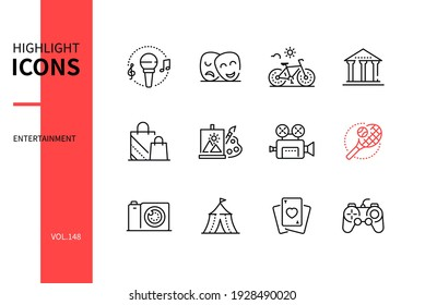 Entertainment - modern line design style icons set. Leisure and hobby concept. Music, theater, bicycle, museum, shopping, painting, cinema, sport, photography, circus, playing cards, video games