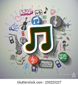 Entertainment and music collage with icons background. Vector illustration