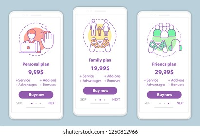 Entertainment onboarding mobile app screens with service prices. Walkthrough website pages templates. Pay to play. Video, computer games tariff plans. Subscription, membership payment web page layout