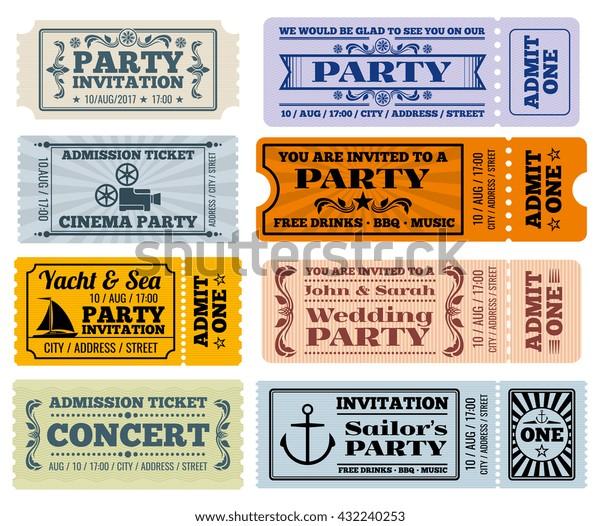 エンターテイメント パーティー シネマのベクタービンテージチケット クーポンテンプレート パーティーの結婚式のチケット とエンターテイメントイラスト のベクター画像素材 ロイヤリティフリー