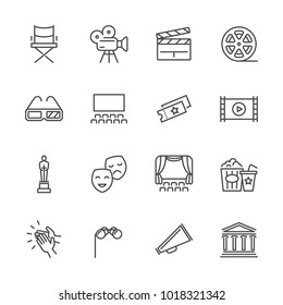Entertainment and performance line vector icons. Theater and cinema outline symbols. Cinema and performance entertainment, movie film and show illustration