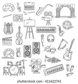 Entertainment sketches with palettes, paint brushes and easel, cameras and film reel, microphone and musical instruments, theater masks, loudspeakers and headphones, megaphone and clapperboard