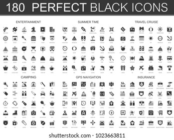 Entertainment, summer time, travel cruise, camping, gps navigation and insurance black classic icon set.