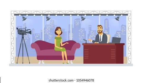 Entertainment talk show - cartoon people character isolated illustration on white background. A young smiling presenter interviewing a pretty girl, woman in a studio with an urban view