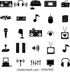 entertainment technology icons set