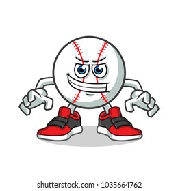 enthusiastic baseball mascot vector cartoon illustration