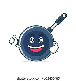 Enthusiastic frying pan cartoon style character