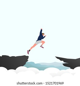 An enthusiastic man jumps across the top of the cliff. Brave man trying to achieve his goal. Achievement, goal, success, challenge, risk taking concept. Vector illustration
