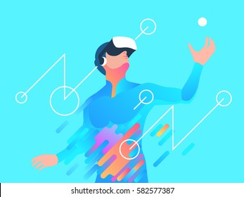Enthusiastic man using virtual reality headset. Vector illustration