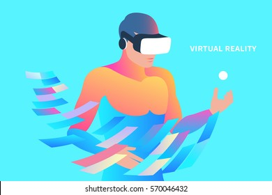 Enthusiastic man wearing virtual reality headset. Vector illustration