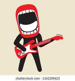 enthusiastically singing rock guitarist