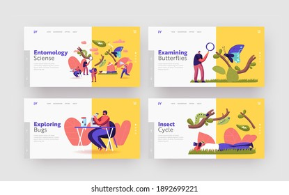 Entomology Hobby Landing Page Template Set. Entomologists Scientists or Amateurs Characters Create Homemade Insect Collection, Search and Study Wild Nature, Fauna. Cartoon People Vector Illustration