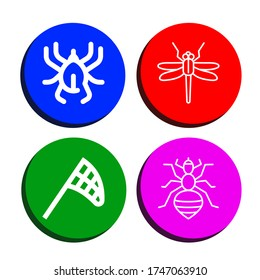 entomology simple icons set. Contains such icons as Acari, Dragonfly, Butterfly net, Louse, can be used for web, mobile and logo