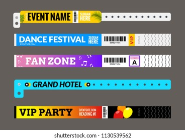 Entrance bracelet at concert event zone festival. Access id template design. Perfoming carnival or dance wristband design entrance.