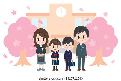 Entrance ceremony cherry Blossoms and school