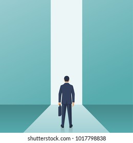 Entrance concept. Way forward businessman in suit stands in front of door in wall. Look into future. Business metaphor. Direction achieve goal. Vector illustration flat design. Isolated on background.