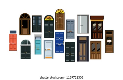 Entrance doors. Set of entrance doors in a flat style. Set of isolated on white background entrance doors. Set of colorful front doors for homes and buildings. Vector illustration Eps10 file