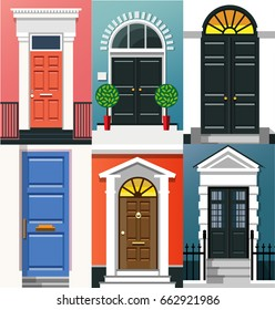 Entrance doors. A set of entrance doors. A set of entrance doors in a flat style. Set of colorful front doors for homes and buildings. Vector illustration Eps10 file
