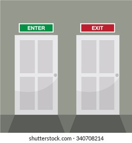 entrance, exit text and closed door