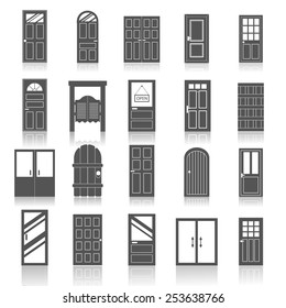 Entrance front doors to houses and buildings,  icons set isolated on white background, vector illustration.
