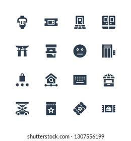 entrance icon set. Collection of 16 filled entrance icons included Ticket, Lift, Ticket office, Keypad, Homepage, Password, Elevator, Neutral, Torii gate, Door, Handle