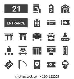 entrance icon set. Collection of 21 filled entrance icons included Handle, Ticket, Event, Door, Password, Lift, Elevator, Ticket office, Torii gate, Dog house, Door hanger