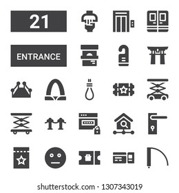 entrance icon set. Collection of 21 filled entrance icons included Door, Ticket, Neutral, Door handle, Homepage, Password, Red carpet, Elevator, Lift, Hang, Gateway arch, Torii gate