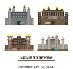 Entrance at maximum security prison with towers.