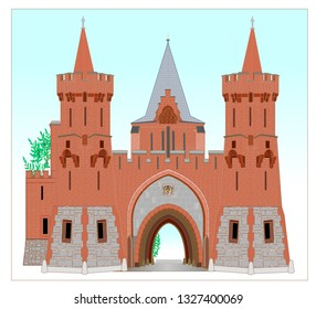 The entrance part of the Red Castle, part of a larger complex of buildings, dates  to the 18th century. Later modifications of the chateau to the periodical history were carried out by the aristocrat