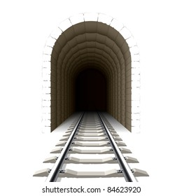 Entrance to railway tunnel. Vector.
