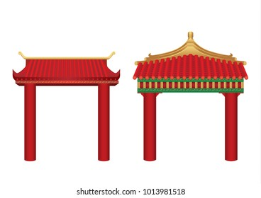 The entrance with roof in Chinese style isolated on white. Illustration about Asian gate architecture.