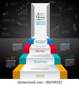 Entrance success  infographic.  business concept.