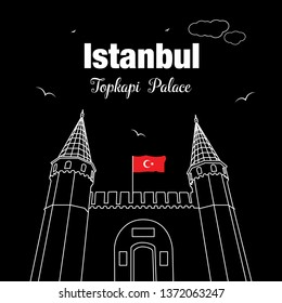 Entrance to the Topkapi palace, Istanbul, Turkey. The large Gate of Salutation. Vector illustration. Tourist attractions in Istanbul.  Topkapi Palace line vector. Ottoman Empire
