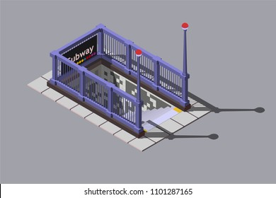 Entrance to underground metro station, vector isometric illustration.