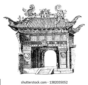 Entrance-Gate to the Temple of Confucius at Shanghai, temple, confucius, shanghai, entryway, gateway, opening, vintage line drawing or engraving illustration