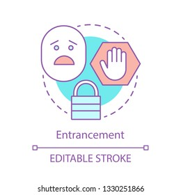 Entrancement concept icon. Anxiety feeling idea thin line illustration. Hopeless circumstances. Panic mental condition. Consternation, fear emotion. Vector isolated outline drawing. Editable stroke