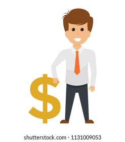 An entrepreneur avatar handling a dollar sign representing the owing of money.