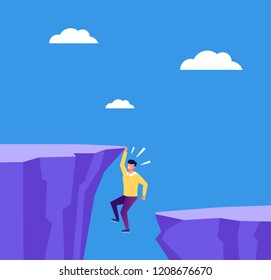 Entrepreneur businessman employee character hold on cliff. Business career finance fail concept. Vector flat cartoon graphic design isolated illustration