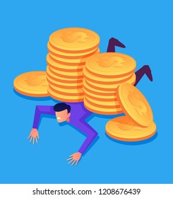 Entrepreneur businessman employee character laying under big money golden coins stock pile dollars. Currency crash default concept. Vector flat cartoon graphic design isolated illustration