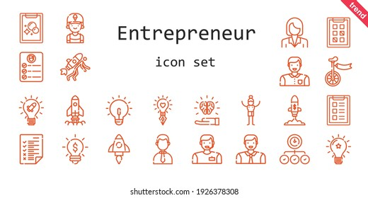 entrepreneur icon set. line icon style. entrepreneur related icons such as clerk, task, idea, startup, unicycle, man, businesswoman, businessman, tasks