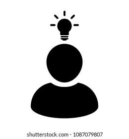 Entrepreneur icon vector male person profile avatar symbol with bulb for creative idea for business Development in Glyph Pictogram illustration