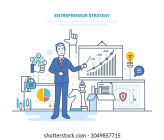 Entrepreneur strategy. Development of business processes and technologies, start-up projects, investment solutions, business ideas, marketing forecasting and planning. Illustration thin line design.